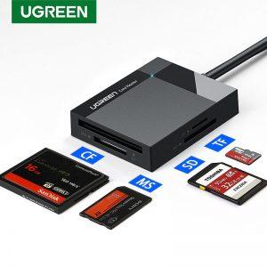 Ugreen usb 3.0 leitor de cartão sd micro sd tf cf ms compacto adaptador de cartão flash para computador portátil otg tipo c para multi leitor de cartão usb 3.0