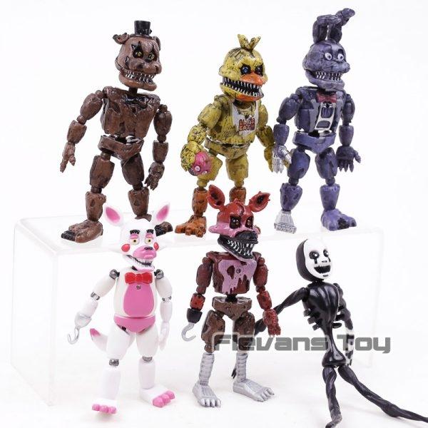FNAF das Cinco Noites no Freddy Pesadelo Freddy Chica Bonnie Funtime Foxy PVC Figuras de Ação Brinquedos 6 pçs/set 1