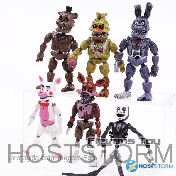 FNAF das Cinco Noites no Freddy Pesadelo Freddy Chica Bonnie Funtime Foxy PVC Figuras de Ação Brinquedos 6 pçs/set 2