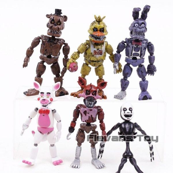 FNAF das Cinco Noites no Freddy Pesadelo Freddy Chica Bonnie Funtime Foxy PVC Figuras de Ação Brinquedos 6 pçs/set 4