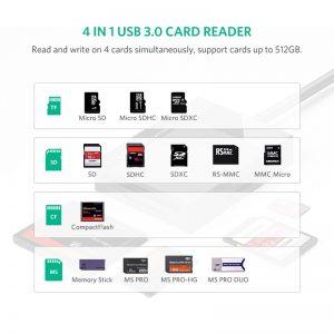 Ugreen usb 3.0 leitor de cartão sd micro sd tf cf ms compacto adaptador de cartão flash para computador portátil otg tipo c para multi leitor de cartão usb 3.0 1