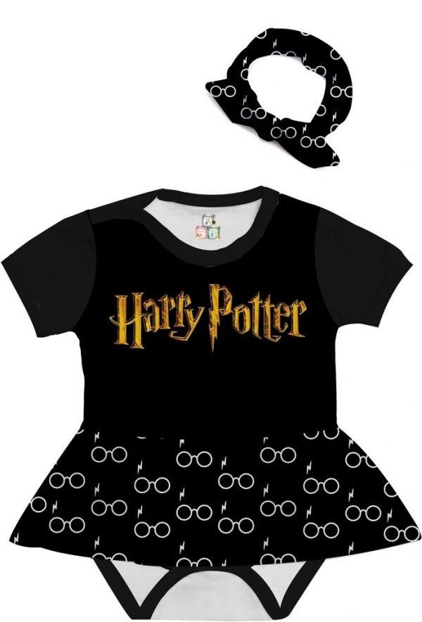 Body de Bebê Personalizado Harry Potter Escolha sua Estampa com Saia e Faixa de Cabelo 02 1