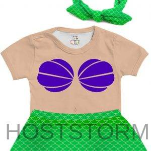 Body de Bebê Saia Personalizado Fantasia Ariel Princesa Pequena Sereia 1