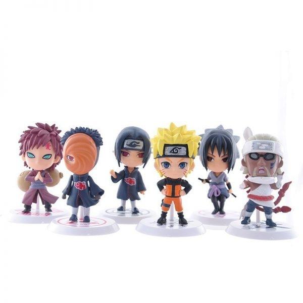 6 pcs anime naruto q versao 7 cm sasuke collectible action figure 02