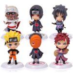 6 pcs anime naruto q versao 7 cm sasuke collectible action figure