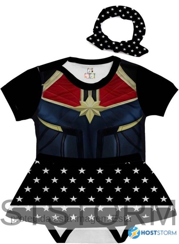 Body de Bebê Personalizado Fantasia Heroína Traje Capitã Marvel 02