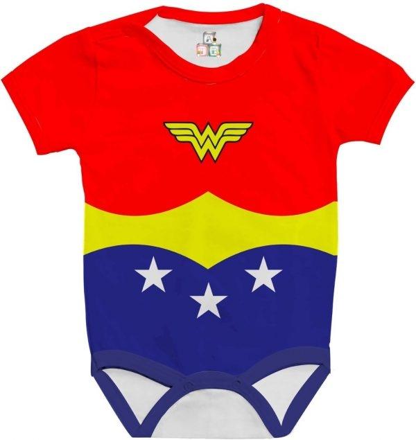 Body de Bebê Personalizado Super Heroína Fantasia Mulher Maravilha 02