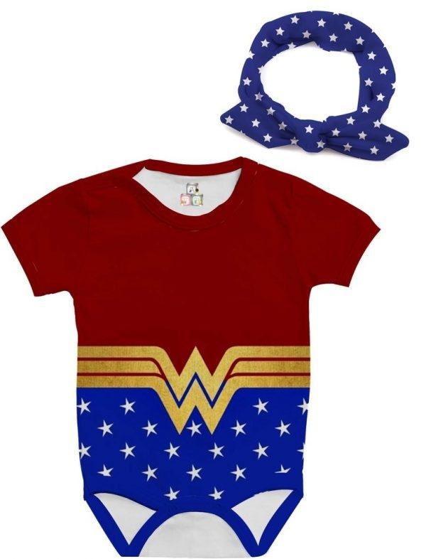 Body de Bebê Personalizado Super Heroína Fantasia Mulher Maravilha 03