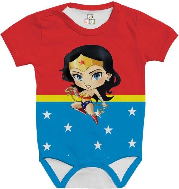 Body de Bebê Personalizado Super Heroína Fantasia Mulher Maravilha 04