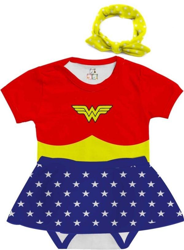 Body de Bebê Personalizado Super Heroína Fantasia Mulher Maravilha
