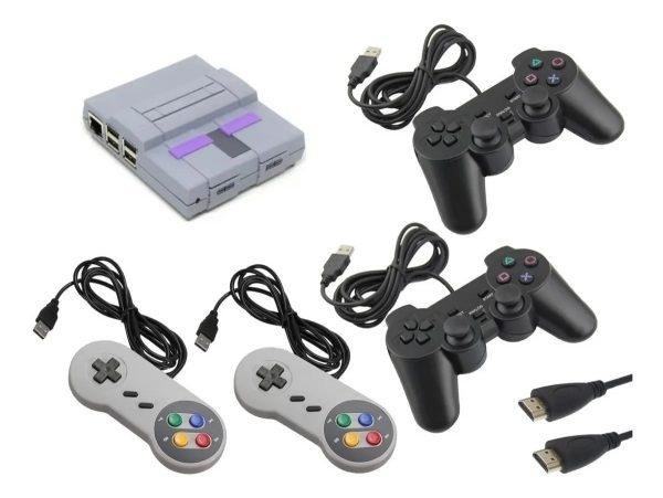 video game retro super nintendo snes 14000 jogos 4 controles